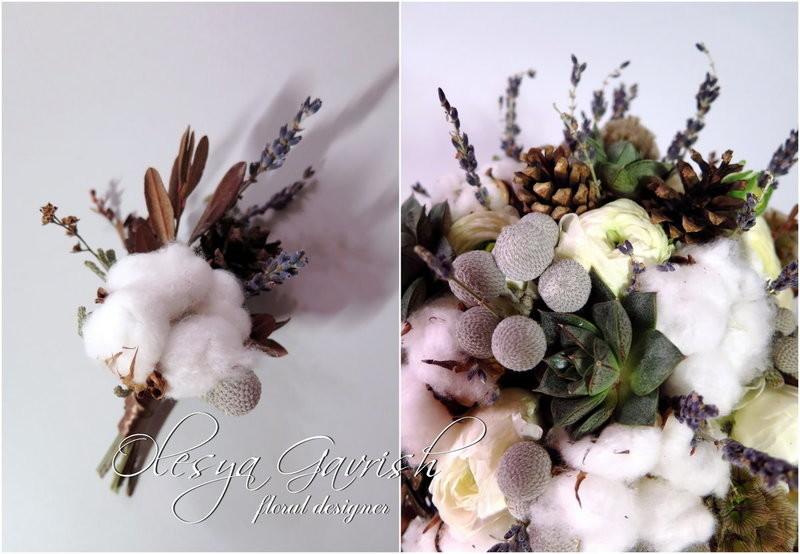 Букет невесты зимний с шишками