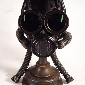 """Big Eyes"" Steampunk leather Gas mask"