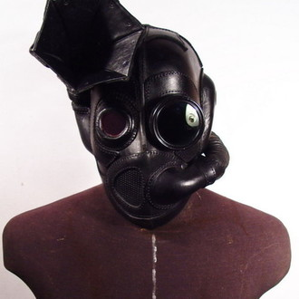 Black Grammophon Steampunk leather Gas Mask.