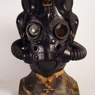 Black leather Pilot mask 5. Черный пилот 5