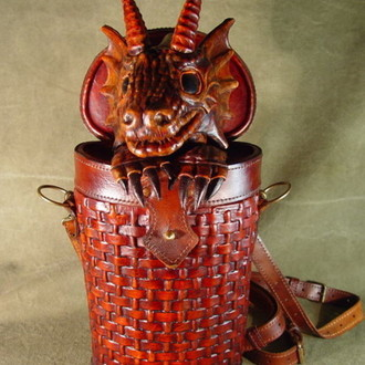 Dragon in baasket. New leather handbag.