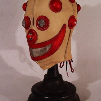 Red Clown Steampunk Leather Mask