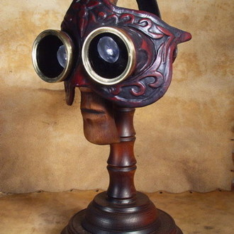 Steampunk Colombina Venetian Leather mask. Mask with Stand
